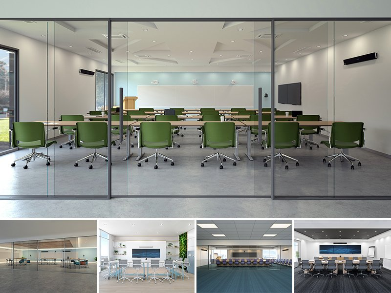Training rooms and large meeting and flex rooms with Nureva audio conferencing systems