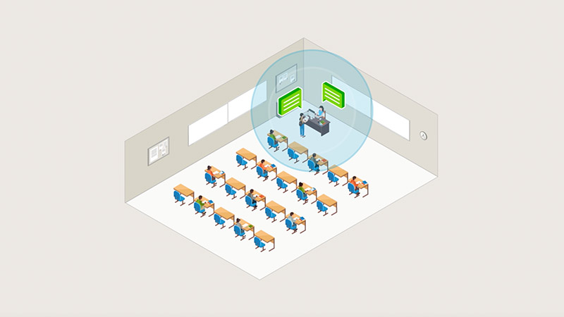 Hybrid learning classroom with limited audio pickup