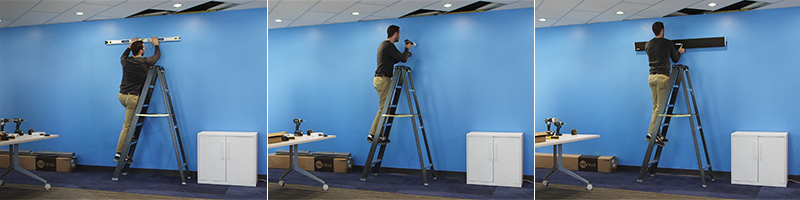 Installing a Nureva audio conferencing system on a wall