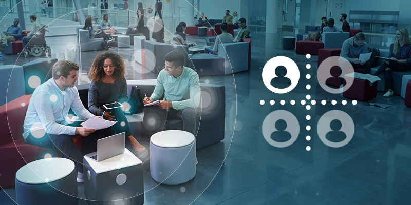 Nureva audio conferencing's new Active Zone Control feature in open office space