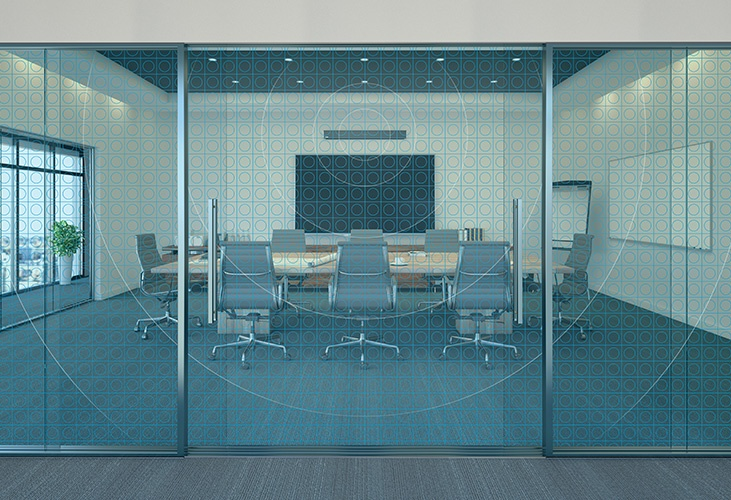 Meeting room featuring HDL300 audio conferencing system