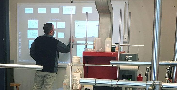 The Nureva Wall in a Brevard College physics classroom