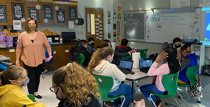 Students and teacher in a Wichita Falls hybrid learning classroom