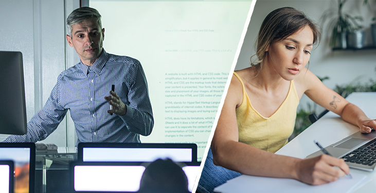 Student and instructor in a flexible hybrid learning course