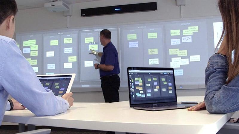 Team interacting with Nureva Span Workspace