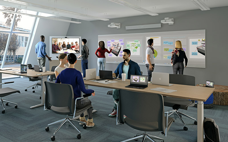 Active learning classroom featuring Nureva Wall 408i and Span Workspace