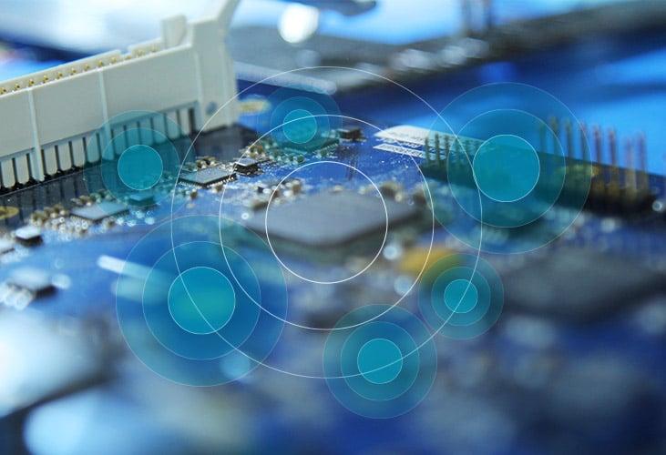Closeup of the Nureva HDL300 audio conferencing system circuit board