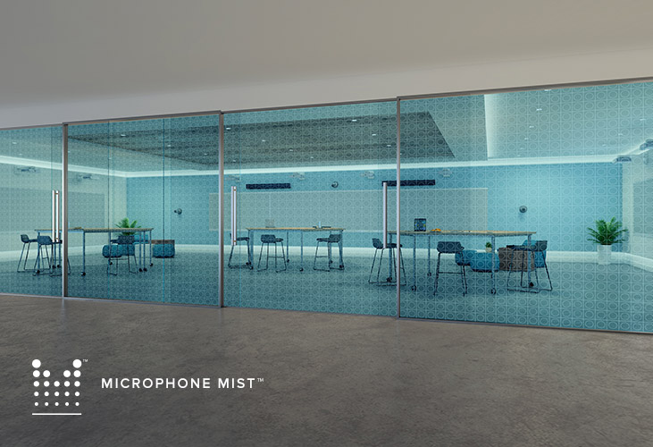 Meeting room featuring Nureva Dual HDL300 audio conferencing system powered by Microphone Mist technology