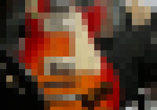 Low-res pixelated guitar image