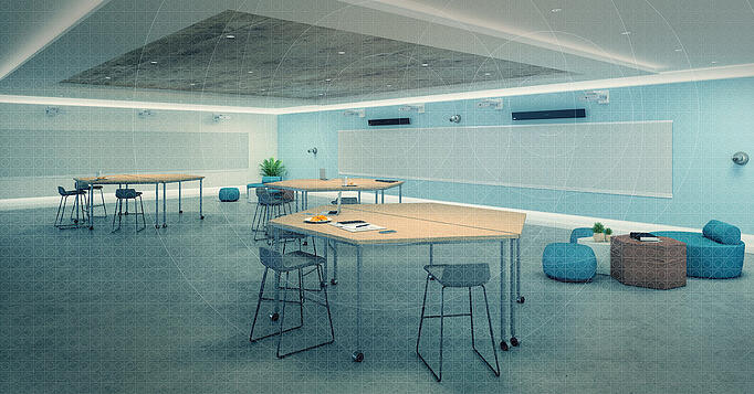 Dynamic meeting space featuring the Nureva Dual HDL300 audio conferencing system