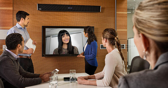 Meeting space featuring the Nureva HDL300 audio conferencing system