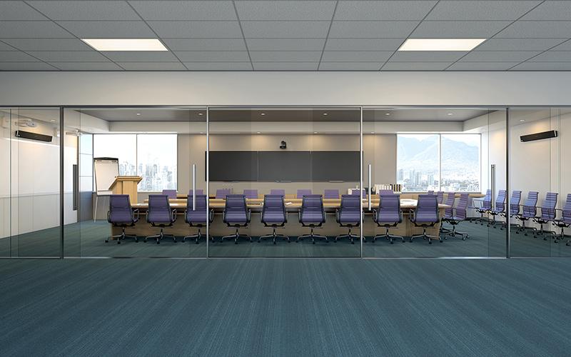 Nureva audio in boardroom – 30' x 50'     9.1 x 15.2 m