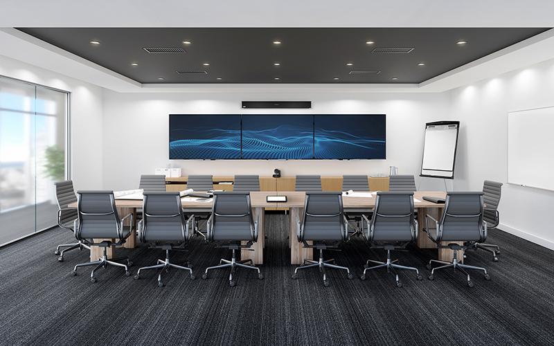 Nureva audio in meeting room – 25' x 25'     7.6 x 7.6 m