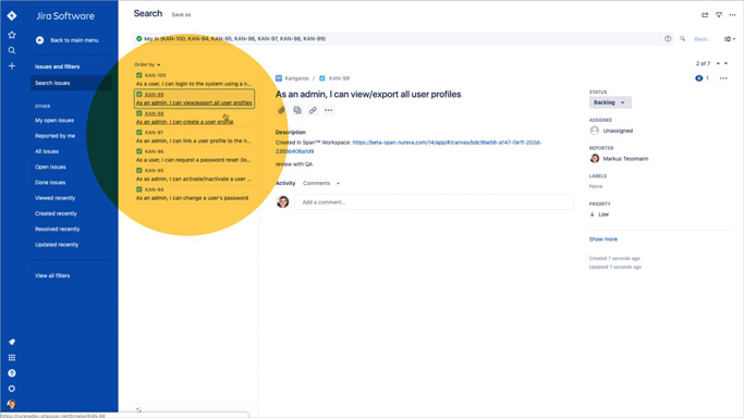 Span Workspace integration with Jira software highlight Jira stories