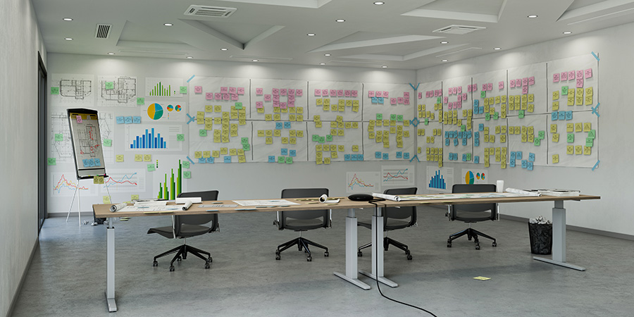 Analog agile sticky note wall