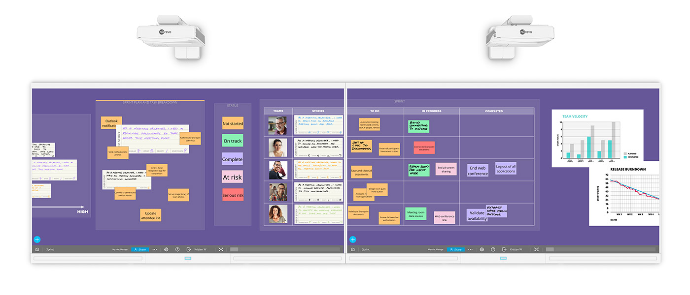 Nureva™ Wall showcasing Span™ Workspace agile canvas