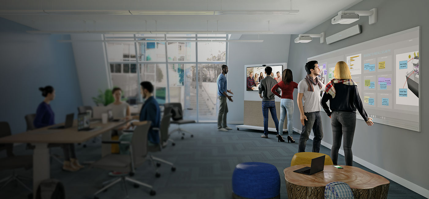 Higher education space with students