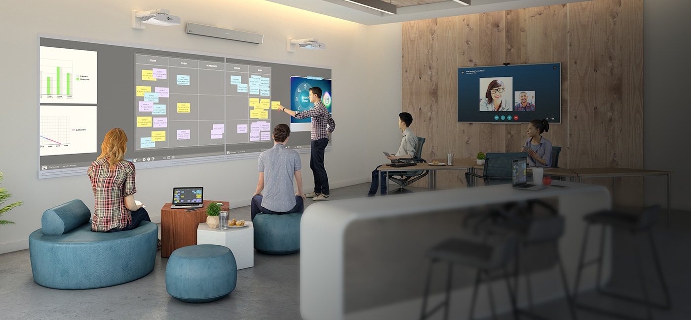 Collaborative workspace featuring Nureva Wall, Span Workspace and HDL300 audio conferencing system